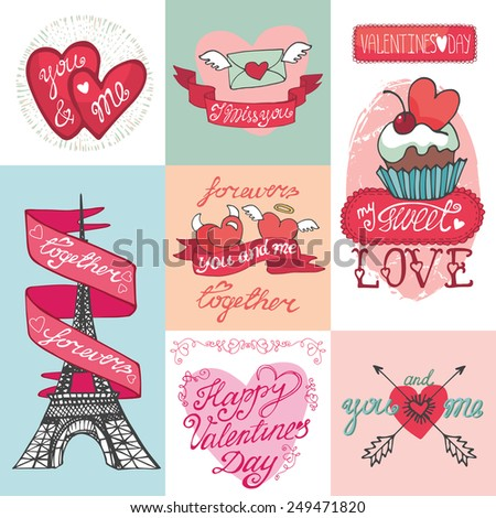Valentine`s day,wedding,love,romantic cards collection.Labels,badges,emblems,ribbon,hearts Eiffel tower,arrows,headline.Cute Doodle hand drawing decor set.Vintage vector,retro - stock vector