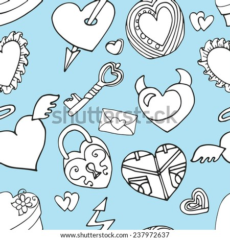 Valentine's day,wedding,love,romantic hearts decor elements in seamless pattern.Cute Doodle hand drawing decor set.Outline cartoon vector.For fabrics, Wallpaper,background,wrapping paper,backdrop.
