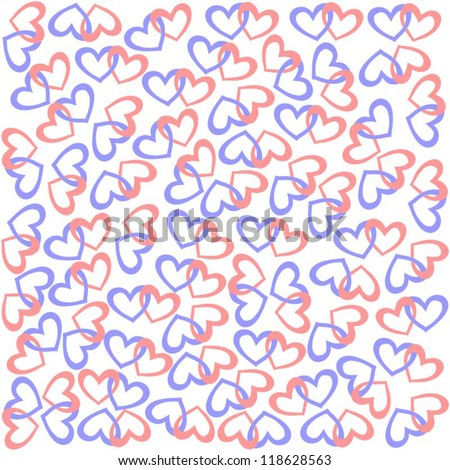 valentines day wrapping paper isolated pairs of hearts on white background vector version - Valentines Day Wrapping Paper