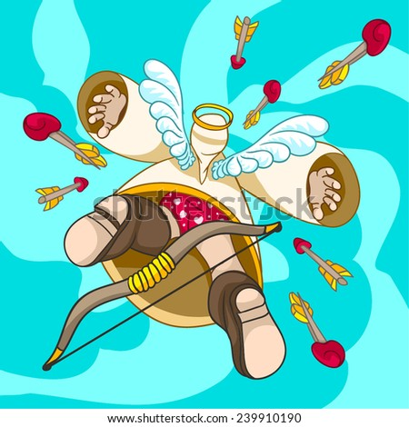 Valentine's flying on holiday, arrows of the Amur, cupid bow - stock vector