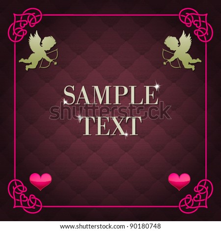 valentine's frame with seamless background - stock vector