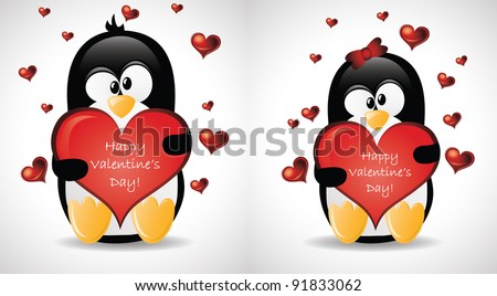 Valentine's Greeting Penguins