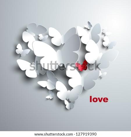 Valentine's Heart of butterflies - stock vector