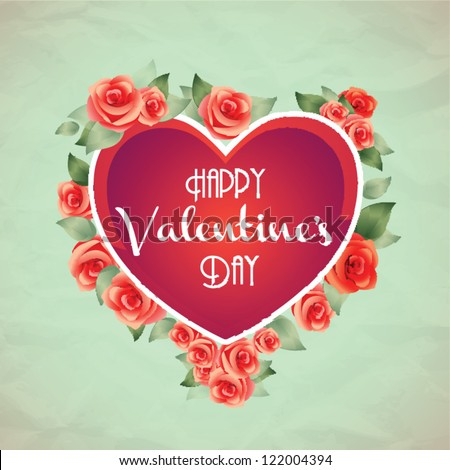 Valentine's heart. Roses bouquet. Valentine card. - stock vector