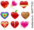 Valentine's heart shaped icon set. - stock vector