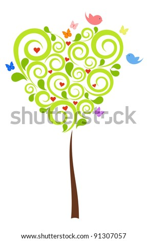 Valentine's heart-shaped Tree with birds and butterflies - stock vector