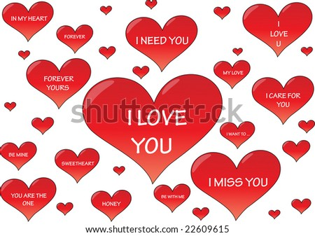 Valentine's hearts with different text(Vector) - stock vector