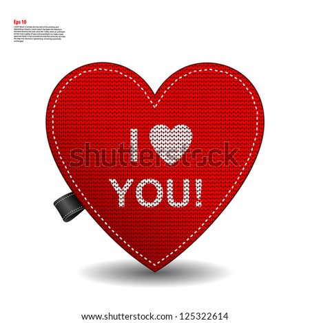 Valentine's knitted label with a heart - stock vector