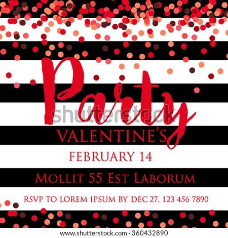 Valentine's Party Invitation with confetti and sequins - stock vector
