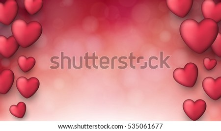 Valentineu0027s Pink Love Background With 3d Hearts. Vector Illustration.