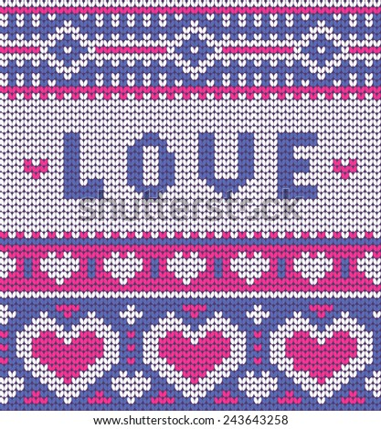 Valentine's seamless vector knitted pattern with hearts for your business - stock vector