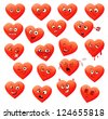 Valentine's set of heart emotions. ( calm, resentful, playful, frightened, sad, satisfied, ailing, thoughtful, jolly, crying, angry, funny, enamored, astonished, laughing ). Vector illustration - stock vector
