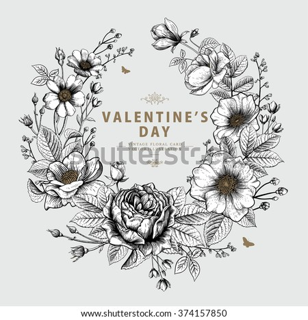 Valentine's Vector Card with the Wreath made of Vintage Victorian Graphic Flowers.  Greeting Postcard, Wedding Invitation. EPS8