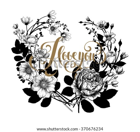 Valentine's Vector Card with Vintage Victorian Graphic Floral Composition. Blank for Greeting Postcard, Wedding Invitation or Any Design. - stock vector