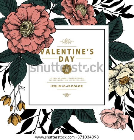 Valentine's Vector Card with Vintage Victorian Graphic Floral Composition. Blank for Greeting Postcard, Wedding Invitation or Any Design.