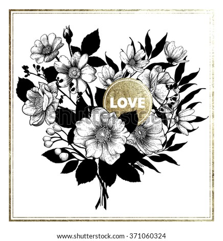 Valentine's Vector Card with Vintage Victorian Heart-shaped Floral Bouquet.  Greeting Postcard. Wedding Invitation. EPS 8  - stock vector