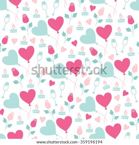 Valentine seamless pattern with balloons, roses, candles, champagne and hearts. Perfect for wallpaper, web page background, gift paper, textile, Valentine greeting cards and wedding invitations