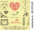 Valentine set.  Calligraphic design elements and page decoration - lots of useful elements to embellish your layout. Vector illustration - stock vector