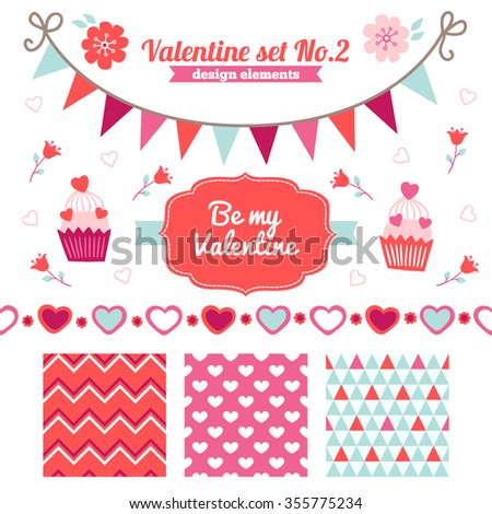 Valentine set of design elements - seamless patterns, label, flowers, cupcakes, border, garland. Perfect for wallpaper, gift paper, textile, Valentine greeting cards and wedding invitations - stock vector