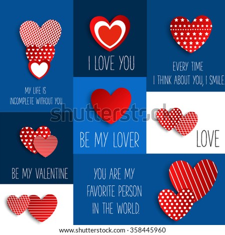Valentine. Set of stickers in the shape of a heart to celebrate Valentine's Day. - stock vector