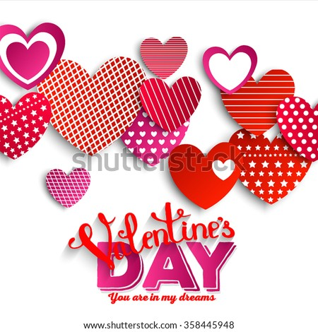 Valentine. Set of stickers in the shape of a heart to celebrate Valentine's Day. You are in my dream. - stock vector