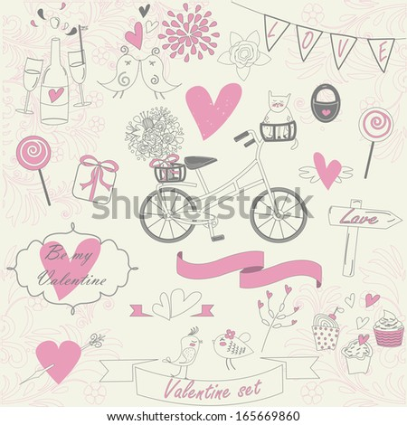 Valentine set with cute birds, bicycle, flags, bouquet, cat, lock, ribbons, bow, candies, cupcakes, flowers in hand drawn style.  - stock vector