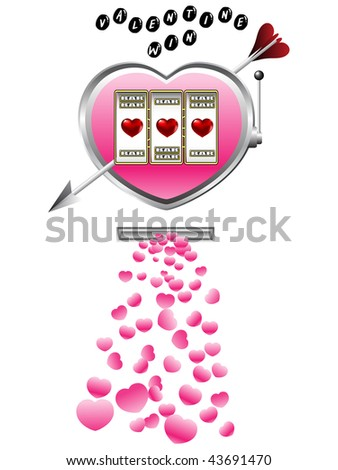 Valentine slot machine - stock vector