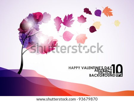 valentine tree, abstract background, eps10 - stock vector