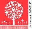 Valentine Tree Red - stock vector