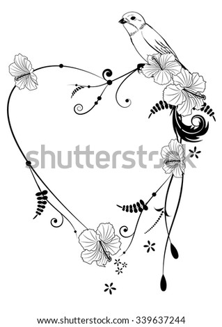 Valentine vector frame with bird and hibiscus in black and white colors - stock vector