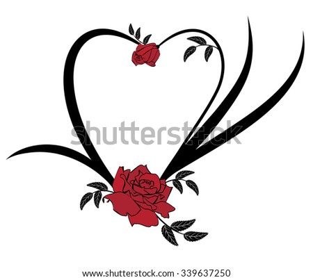 valentine vector frame with roses in black and red colors - stock vector