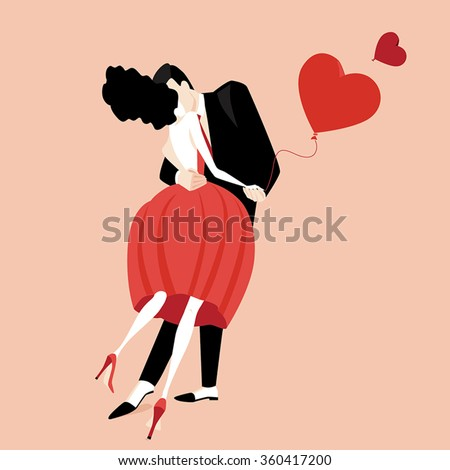 Valentine. Vector illustration of beautiful kissing couple. Flat style - stock vector