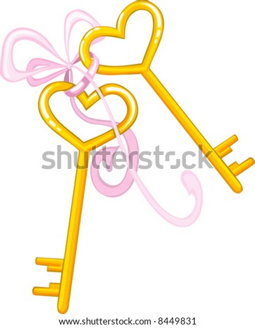 valentine vector illustration of gold keys for heart with pink ribbon
