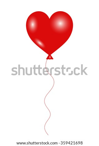 Valentine Vector - Red balloon with heart shape isolate on white background
