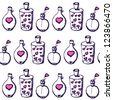 Valentine vector seamless pattern with hearts in bottles - stock vector