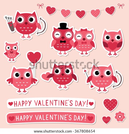 Valentine vector stickers set with pink owls