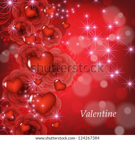 Valentine . Wedding card or invitation with abstract floral background. Greeting postcard in grunge or retro vector Elegance pattern with flowers roses floral illustration vintage style - stock vector