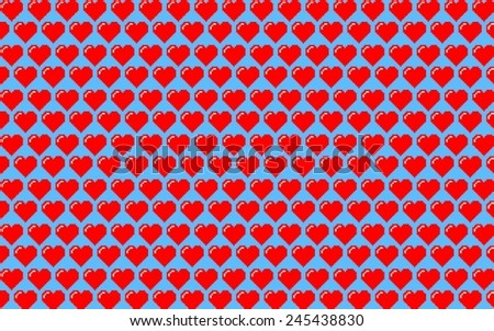 Valentines background made of hearts in red and blue tones - stock vector