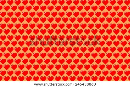 Valentines background made of hearts in red and orange tones - stock vector