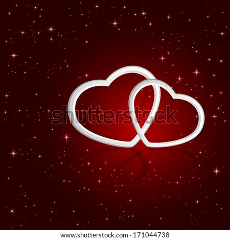 Valentines background with two white hearts and stars, illustration. - stock vector
