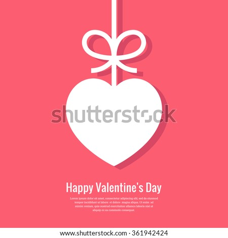 Valentines card with heart and bow. Valentine's day minimal abstract background. Vector illustration. Eps10. - stock vector