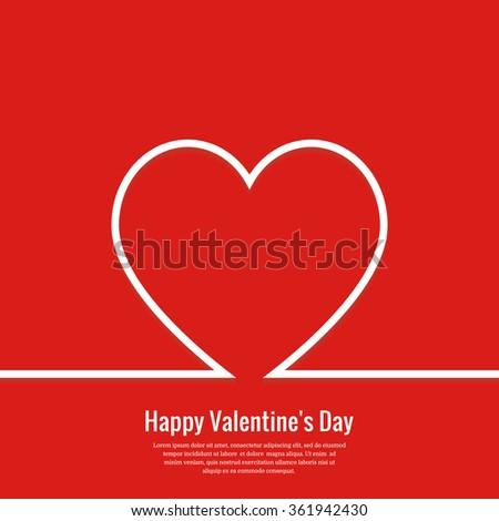 Valentines card with outline heart. Valentine's day minimal abstract background. Vector illustration. Eps10. - stock vector