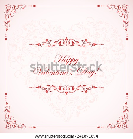 Valentines card with pink ornate elements, illustration. - stock vector