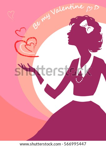 Valentines card with silhouette of lady, isolated on mixed pink and white background, with signs of heart, in warm colors. Vector hand drawing.