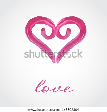 Valentines card with watercolor painted pink heart. Vector format for your design