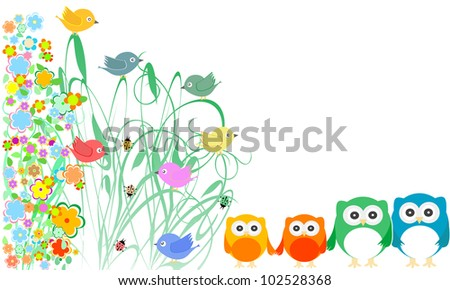 valentines cards with cute birds, owls family and flowers. vector - stock vector