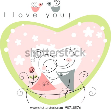 valentines couple,  women and  men on park bench, pink background of heart  . Vector illustration of Valentine card - stock vector