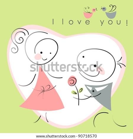 valentines couple,  women and  men with rose on green  background of heart  . Vector illustration of Valentine card - stock vector