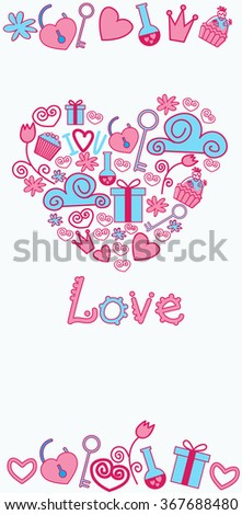 Valentines Day Abstract Background Hand Draw Vertical Banner Sketch Doodle Heart Shape Vector Illustration