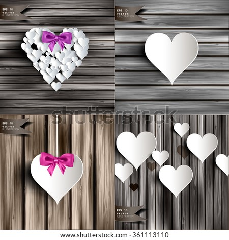 Valentines day. Abstract cards with paper hearts. Love, heart. - stock vector